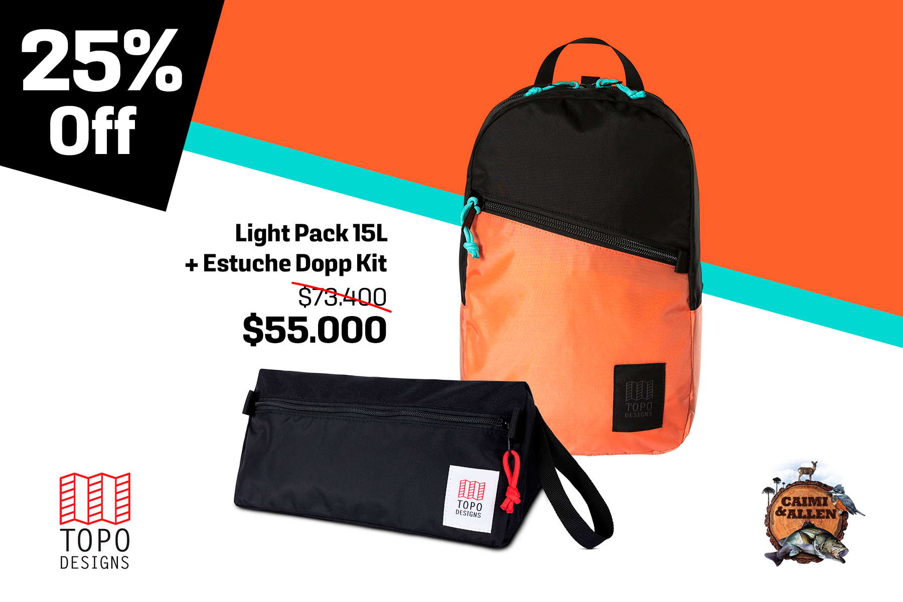 Light Pack Black/coral + Dopp kit