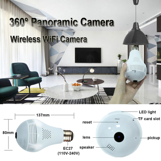 LED Light 960P Wireless Panoramic CCTV - TechViber