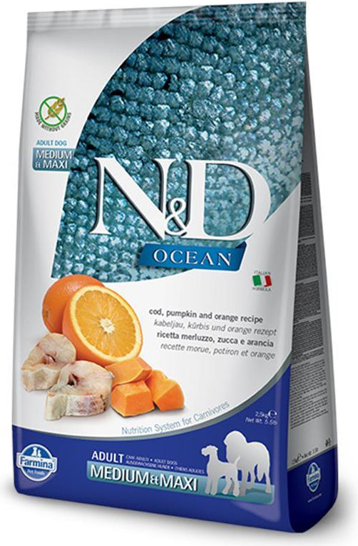 N&D Ocean Medium & Maxi Codfish, Pumpkin & Orange