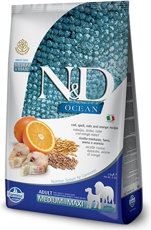 N&D Ocean Medium & Maxi Codfish, Spelt, Oats & Orange