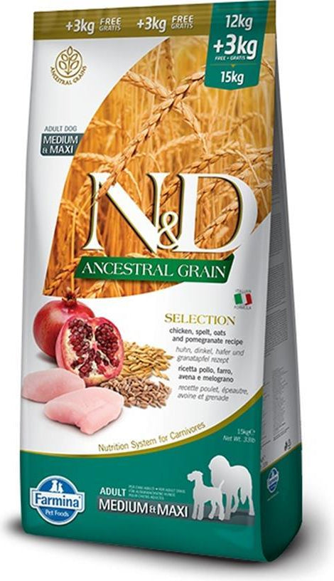 N&D Ancestral Grain Medium & Maxi Chicken & Pomegranate (1kg na meru)