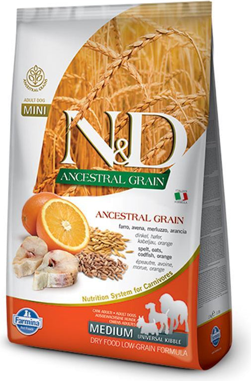 N&D Ancestral Grain Medium Codfish & Orange