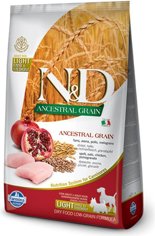 N&D Ancestral Grain Light Mini & Medium Chicken & Pomegranate