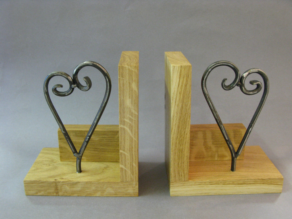 Heart Bookends by Maxine Hunt