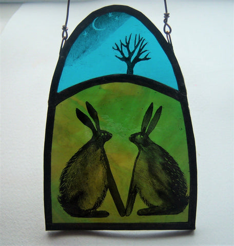 Twilight Love Hares - Glass by Debra Eden