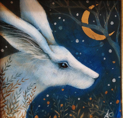 The White Hare - Original miniature acrylic painting by Amanda Clark