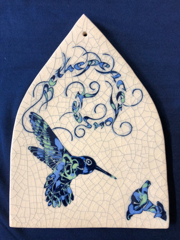 "Ceramic Tile with Hummingbird Design ""Be the peace you seek"""