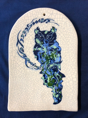 "Ceramic Tile with Owl Design ""I am still learning"""