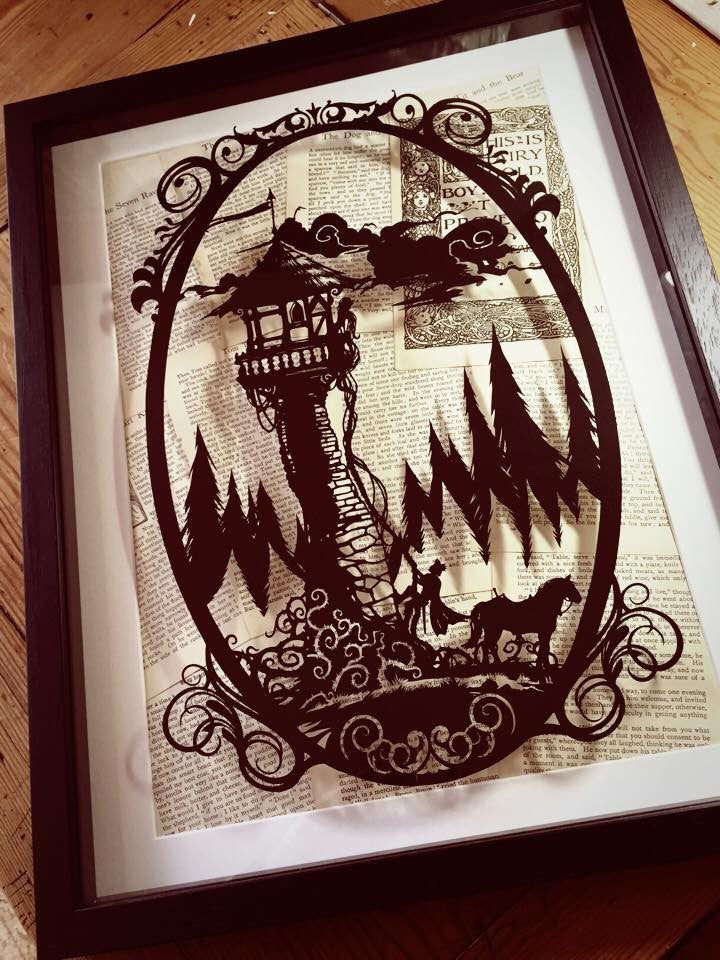 Rapunzel (Black) - Original Paper Cut by Paper Panda
