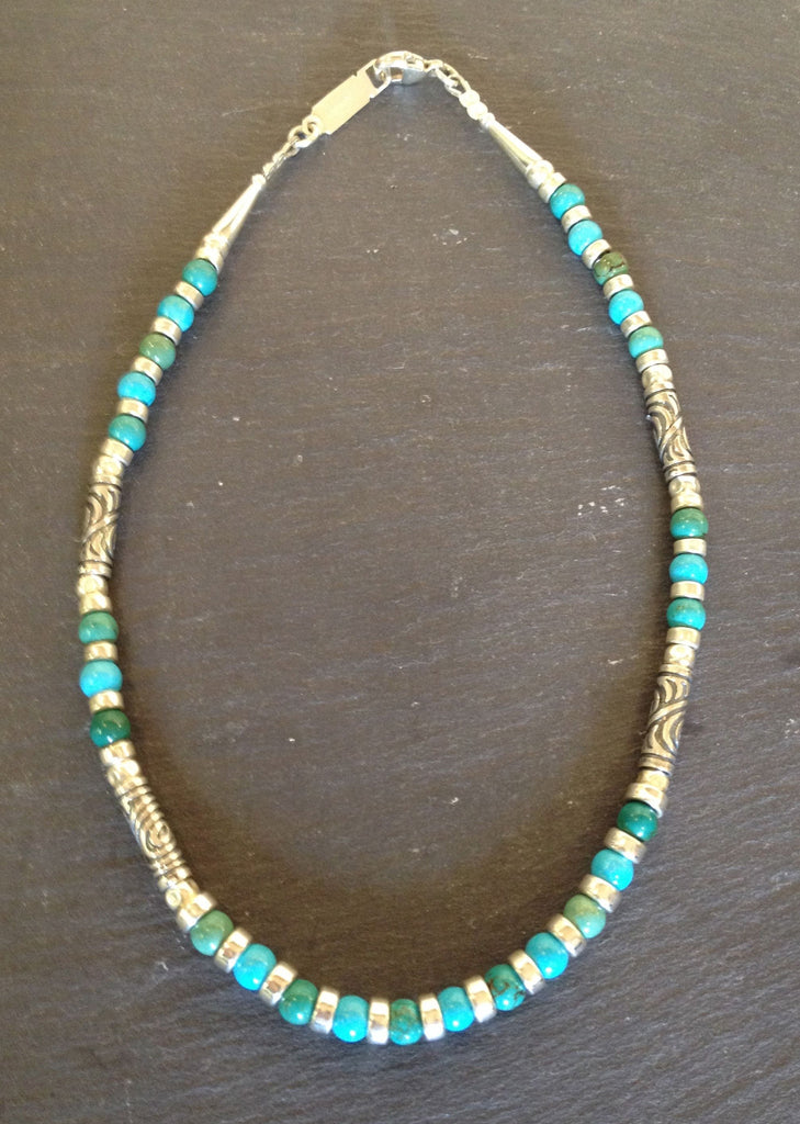 Silver Necklace with Mixed Turquoise by Anne Farag