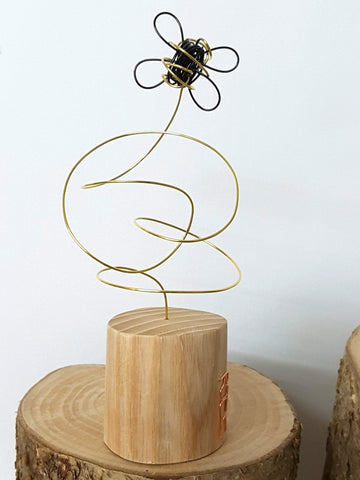 Bee - Wire and Wood Sculpture