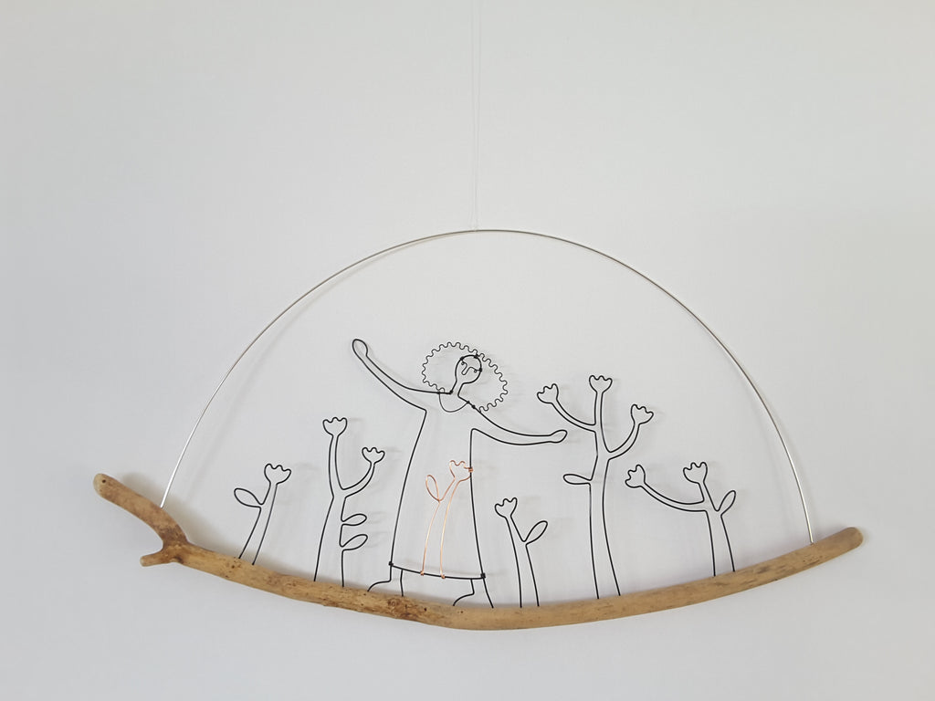 Lady and Garden - Wire and Driftwood