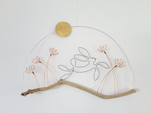 Leaping Hare, Alliums and Moon - Wire and Driftwood