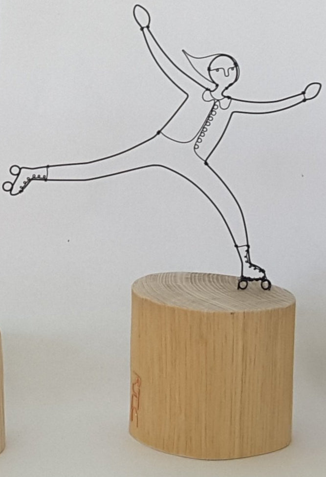 Small Rollerskater - Wire and Wood Sculpture