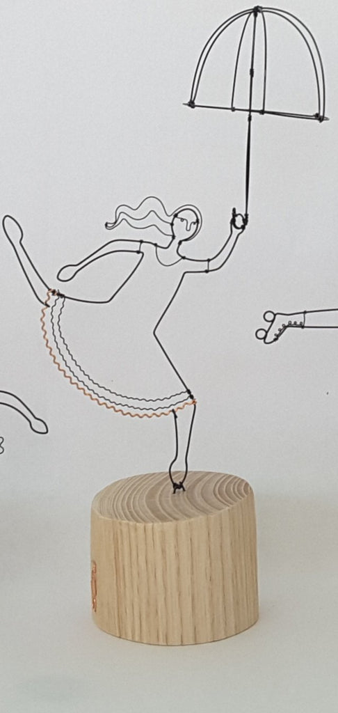 Small Umbrella Lady - Wire and Wood Sculpture