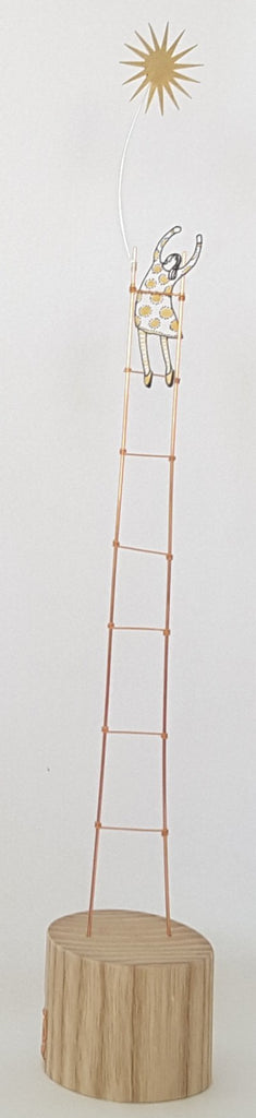 Ladder and Star - Wire and Wood Sculpture