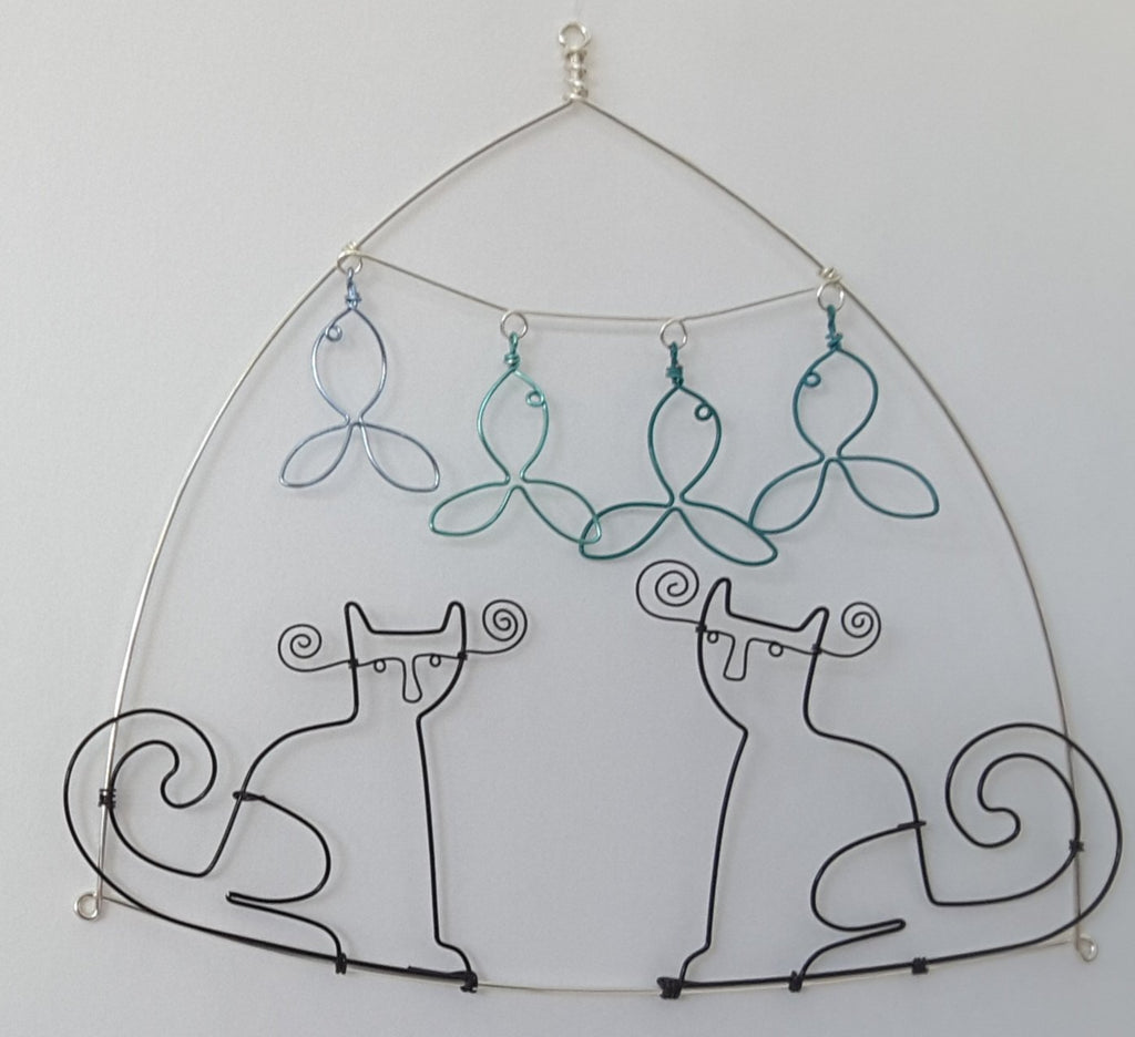 2 cats and four fish wire sculpture by becky crawford