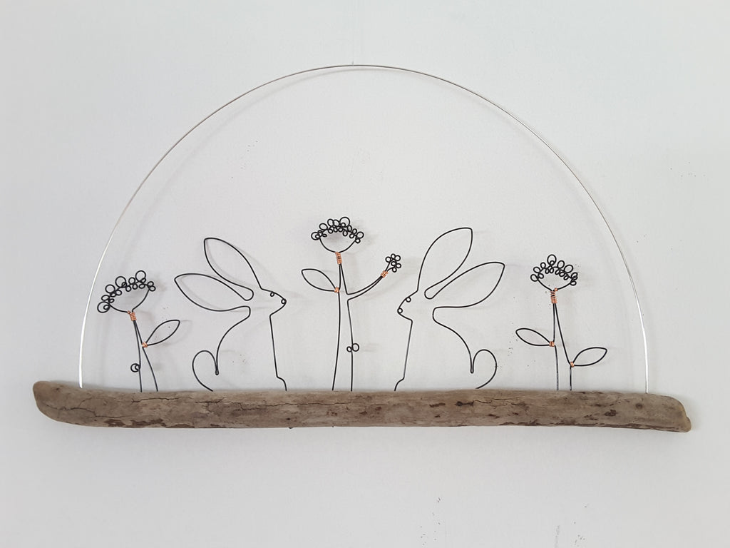 Hare and Flowers - Wire and Driftwood