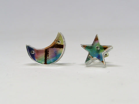 Moon and Star Design Stud Earrings by Sophie Court