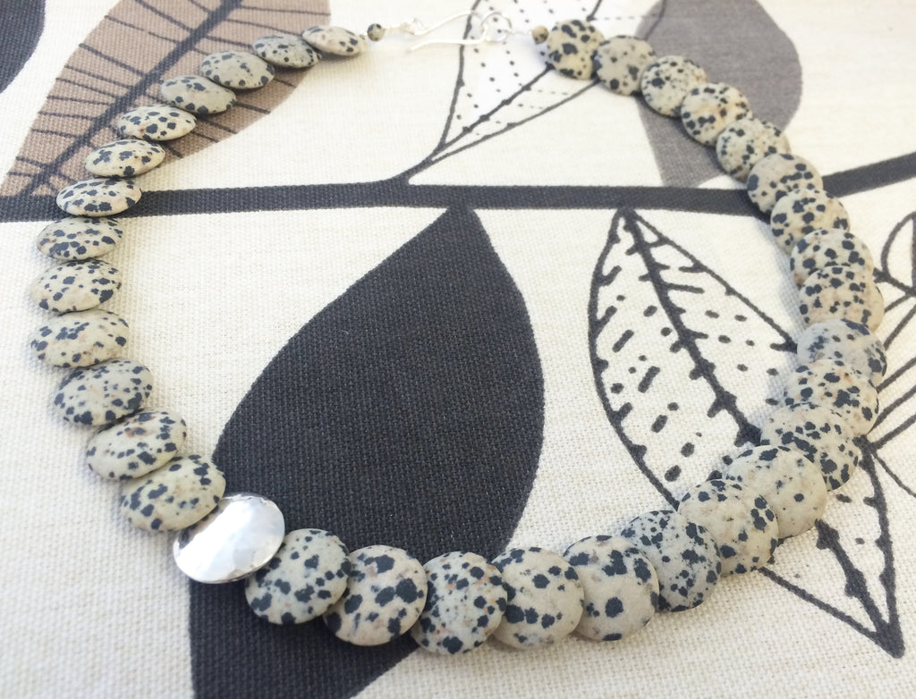 Overlapping Necklace Silver and Dalmation Jasper by Angela Learoyd