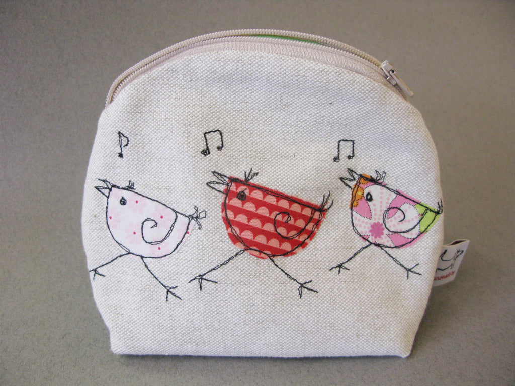 Makeup Bag - Three Dancing Birds