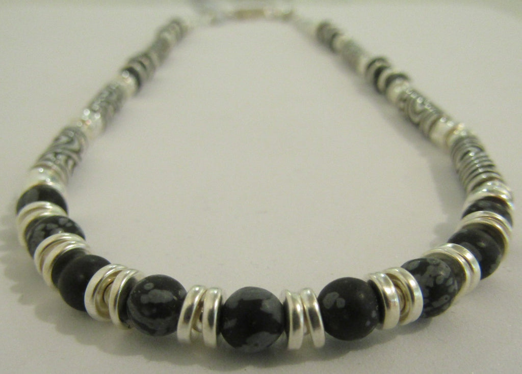 Snowflake Obsidian Necklace by Anne Farag