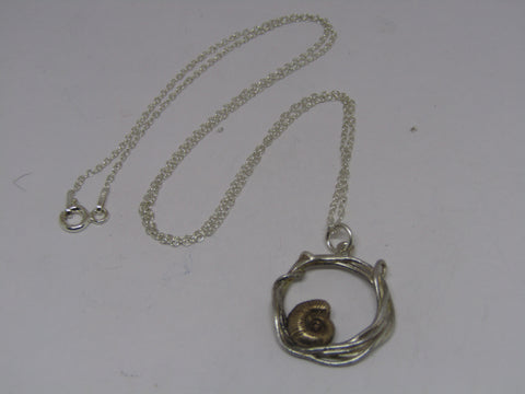 Bronze Ammonite In Hoop Necklace by Xuella Arnold