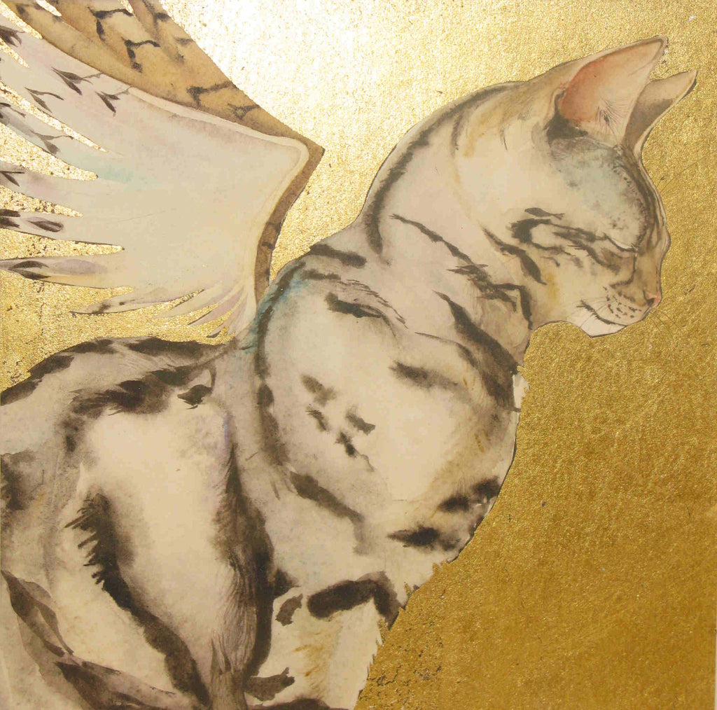 Jackie Morris - Angel Cat - Original Watercolour Painting on Gold Leaf