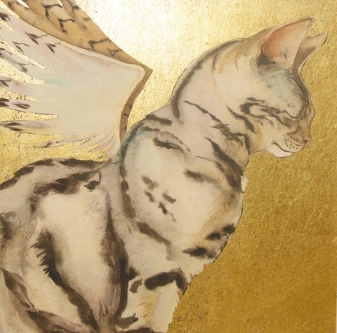 Angel Cat - Original Watercolour on Gold Leaf
