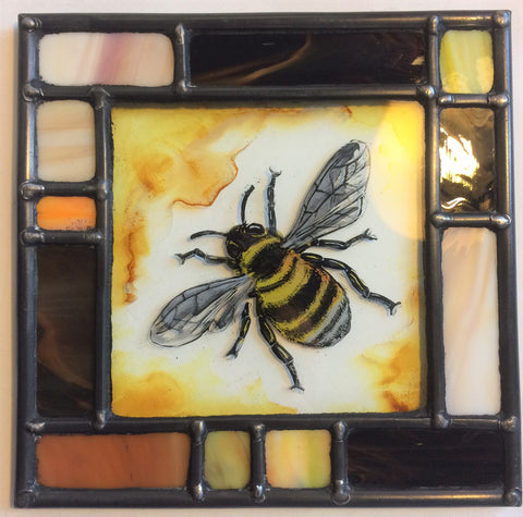 Bee, stained glass by Bryan Smith