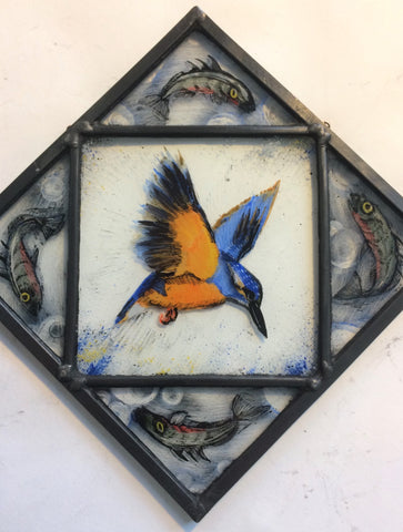 Kingfisher with Fish, stained glass by Bryan Smith