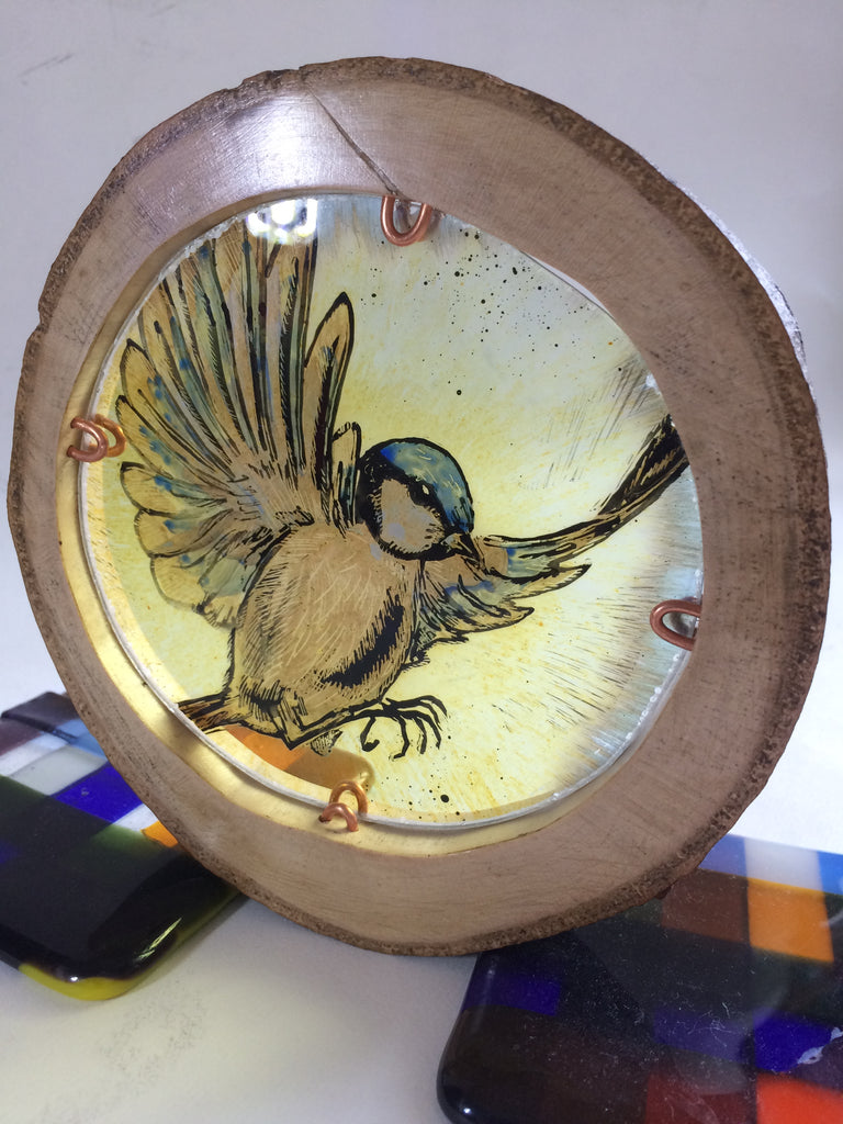 Bluetit, stained glass by Bryan Smith