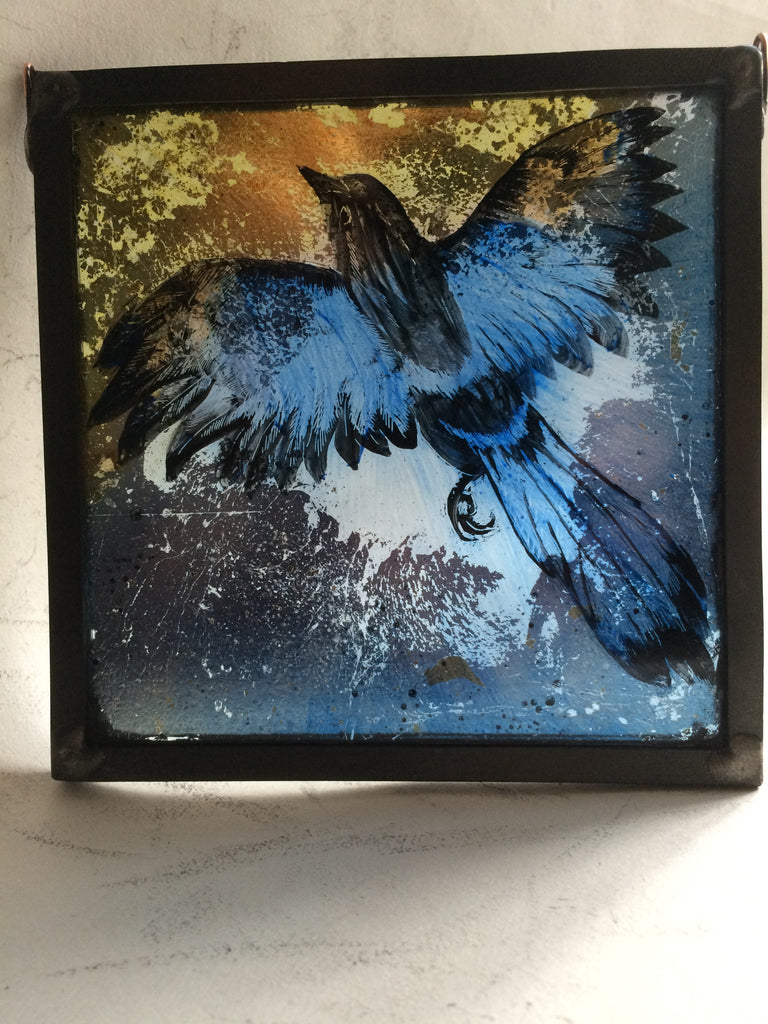 Magpie, Guilded square stained glass by Bryan Smith