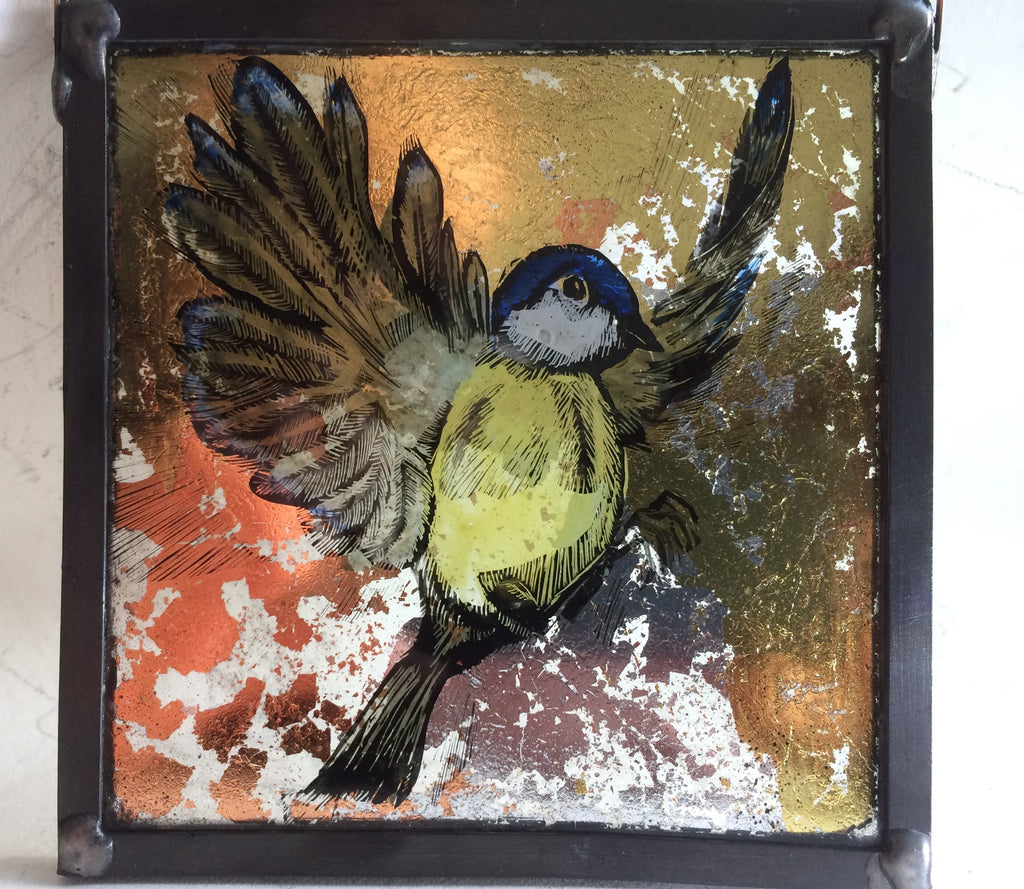 Bluetit, Guilded square stained glass by Bryan Smith