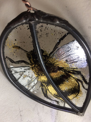 Leaf with Guilded Bee stained glass by Bryan Smith