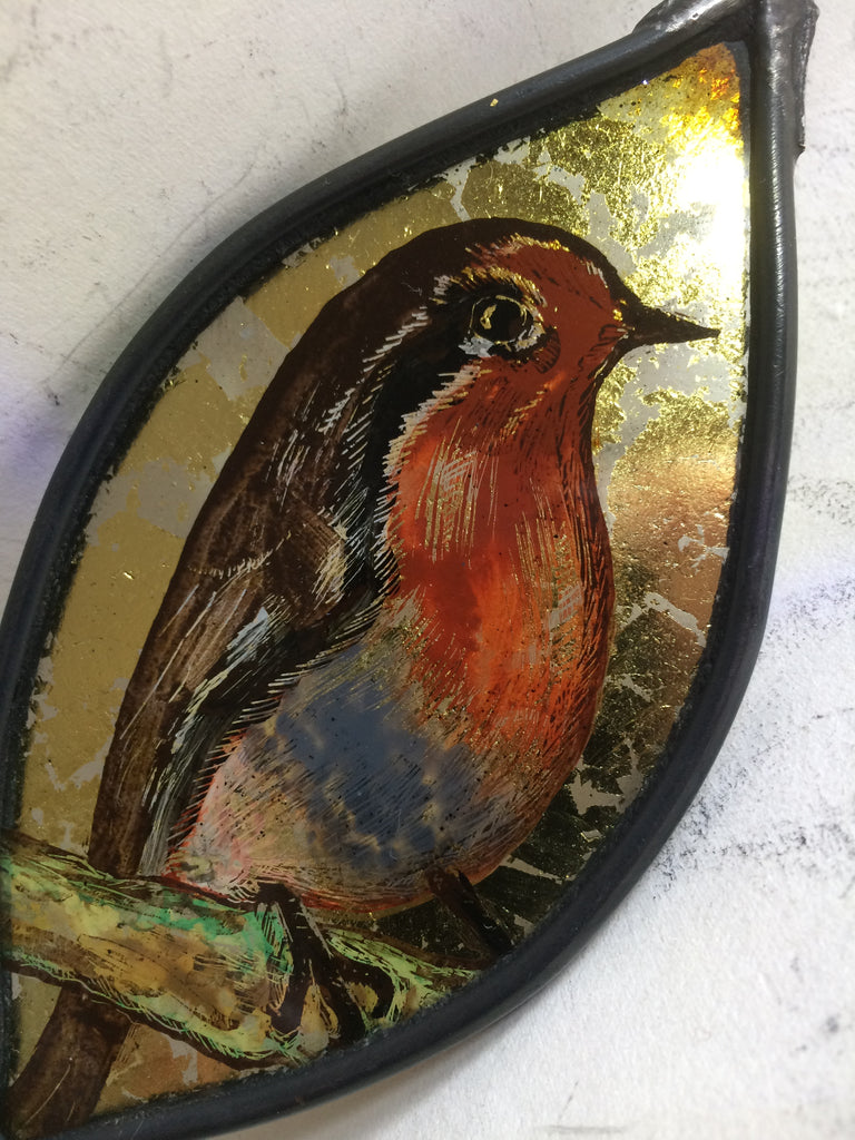 Leaf with Guilded Robin stained glass by Bryan Smith