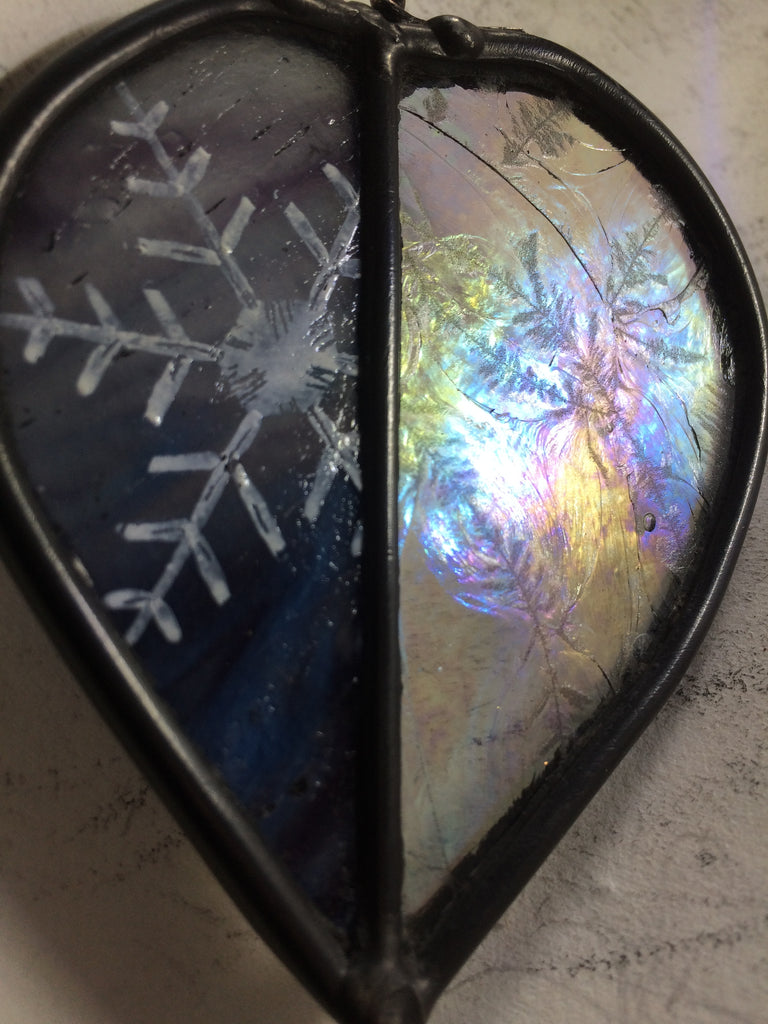 Iridescent Leaf with Snowflake stained glass by Bryan Smith