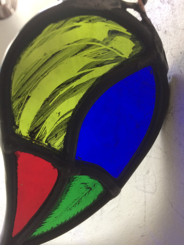 Leaf with four colours stained glass by Bryan Smith