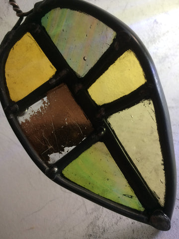 Leaf, Dihedral shape stained glass by Bryan Smith
