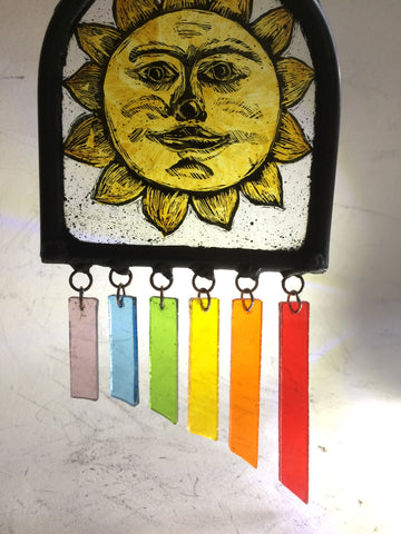 Sun with rainbow hangings stained glass by Bryan Smith