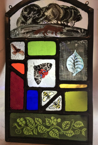 Tiger Moth in the Countryside stained glass by Bryan Smith