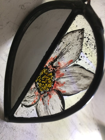 Leaf with white flower and mirrored stained glass by Bryan Smith