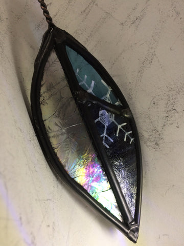 Iridescent Leaf with Snowflake on Blue stained glass by Bryan Smith