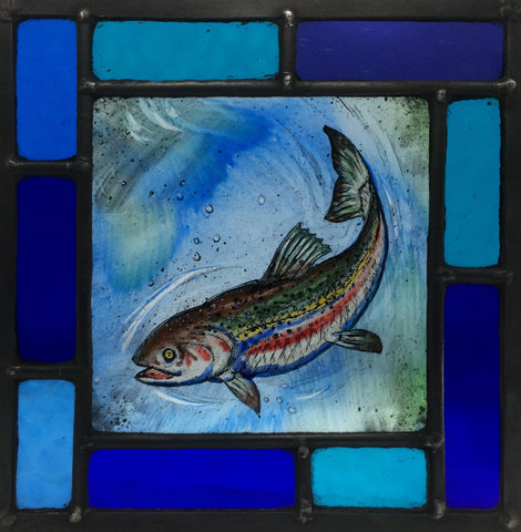 Trout in multi-blue frame, stained glass by Bryan Smith