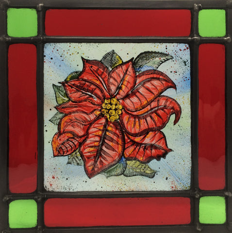 Poinsettia, stained glass by Bryan Smith