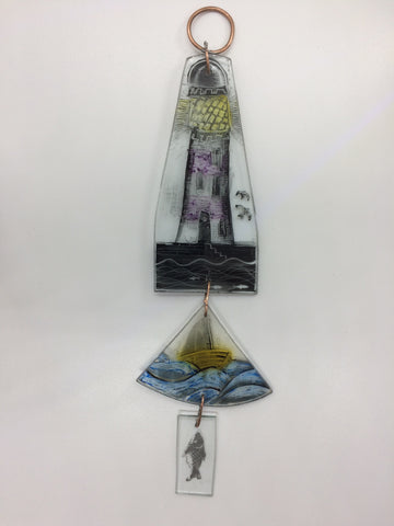Hanging, Lighthouse, Boat and Fish, stained glass by Bryan Smith