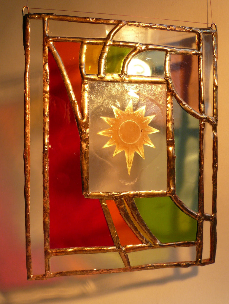 Rainbow Sun, stained glass by Bryan Smith
