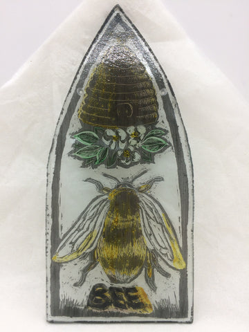Bee and hive without frame, gothic shape, stained glass by Bryan Smith
