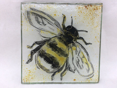 Bee without frame, stained glass by Bryan Smith