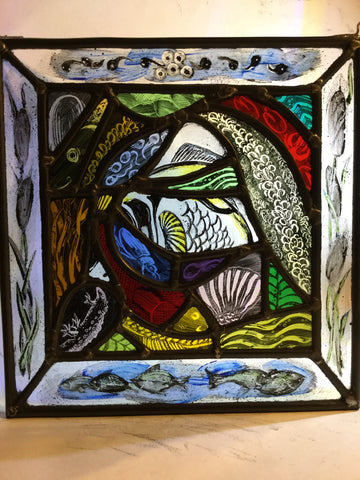 Fish, Pondlife Collage, stained glass by Bryan Smith